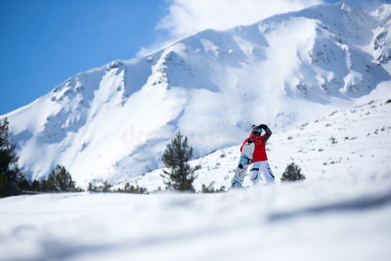 Спортсмен с сноубордом стоковое изображение