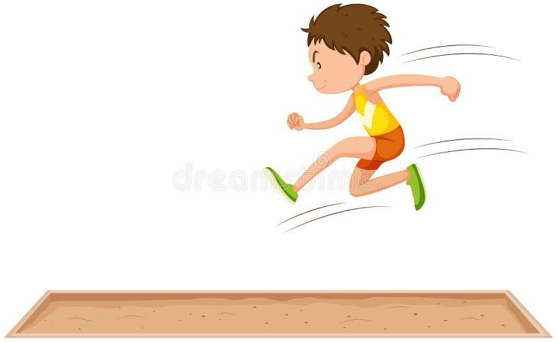 Спортсмен человека делая большой скачок иллюстрация вектора