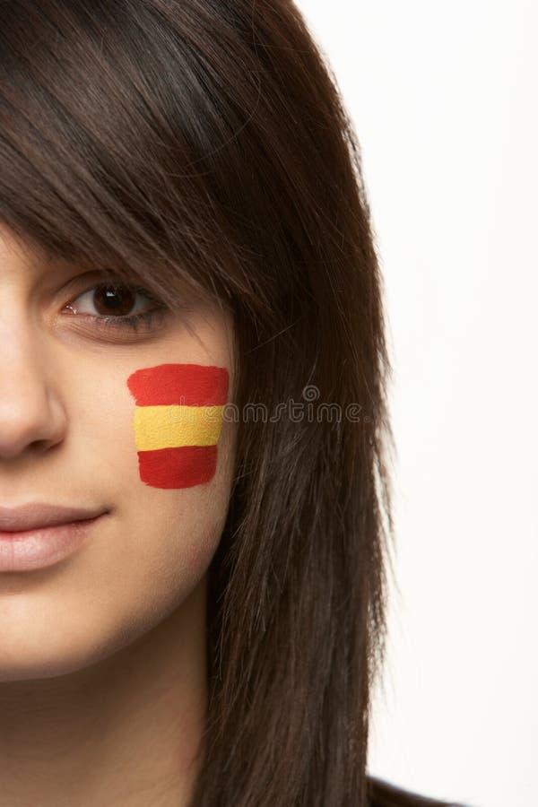 спорты женского флага вентилятора испанские молодые стоковое фото