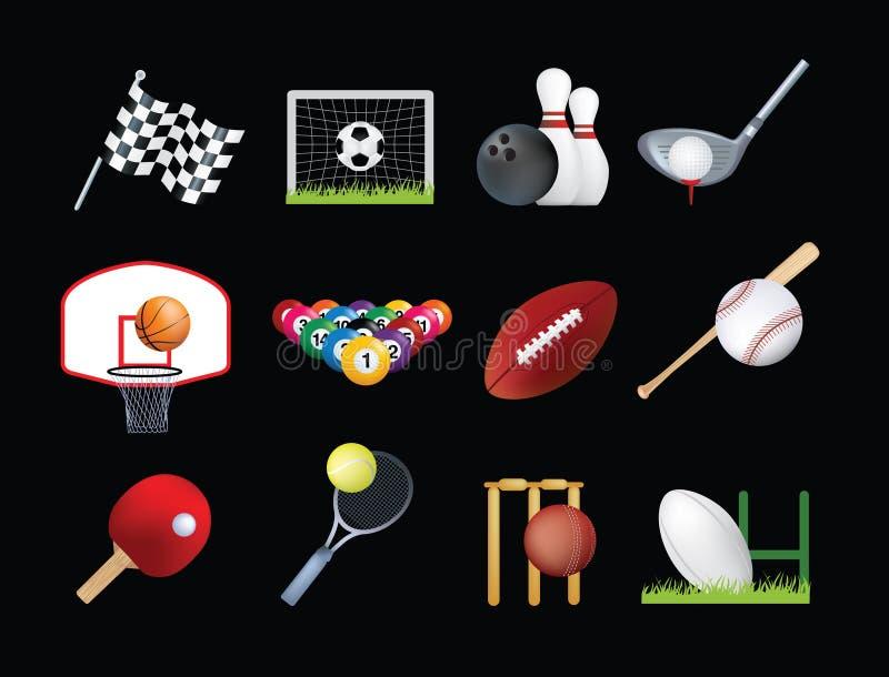 спорты иконы установленные иллюстрация вектора