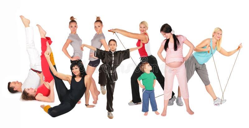 спорты людей группы коллажа стоковая фотография rf