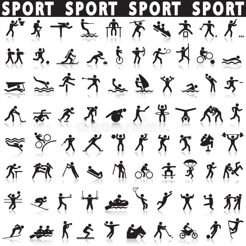 спорты установленные иконами иллюстрация вектора