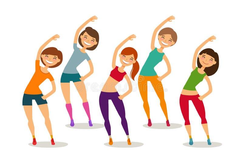 Спорт, аэробика, здоровая концепция образа жизни Фитнес включенный группой людей в спортзале Смешная иллюстрация вектора шаржа иллюстрация штока