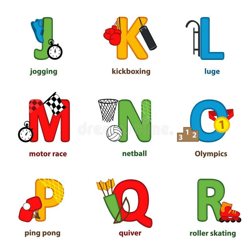 Спорт алфавита от j к r иллюстрация штока