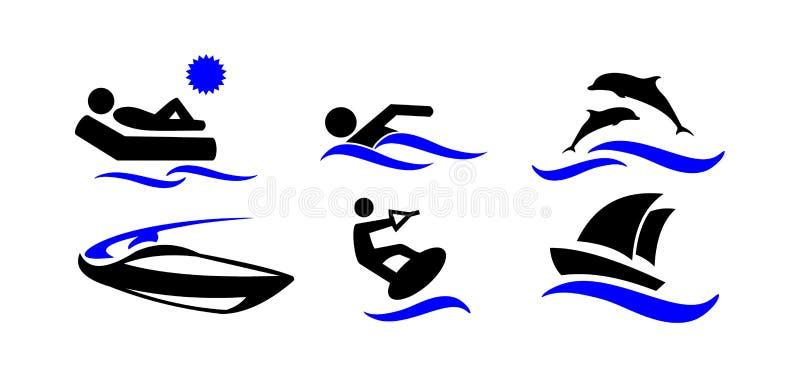 Спорт бассеин подныривания конкуренций резвится вода заплывания Активный праздник морем Установленные значки иллюстрация штока
