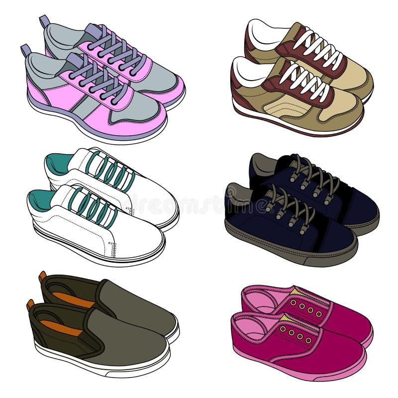 спорт ботинок тапки эскиз для взрослых и детей стоковые изображения rf