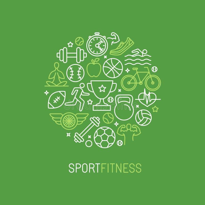 Спорт вектора линейные и логотип фитнеса иллюстрация штока
