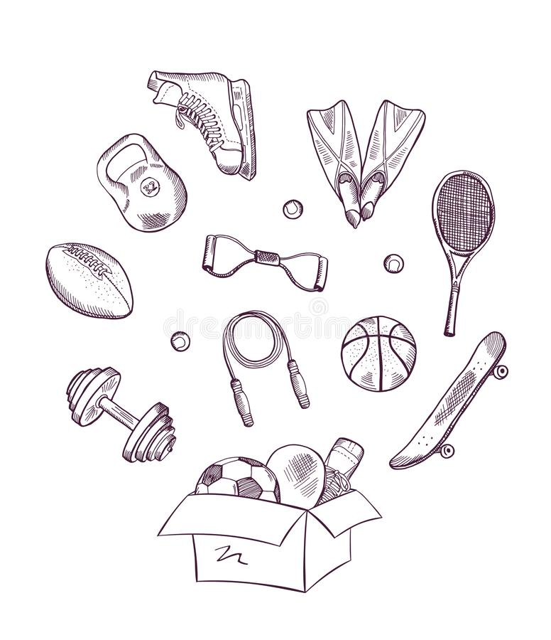 Спорт вектора нарисованные рукой в иллюстрации коробки иллюстрация вектора