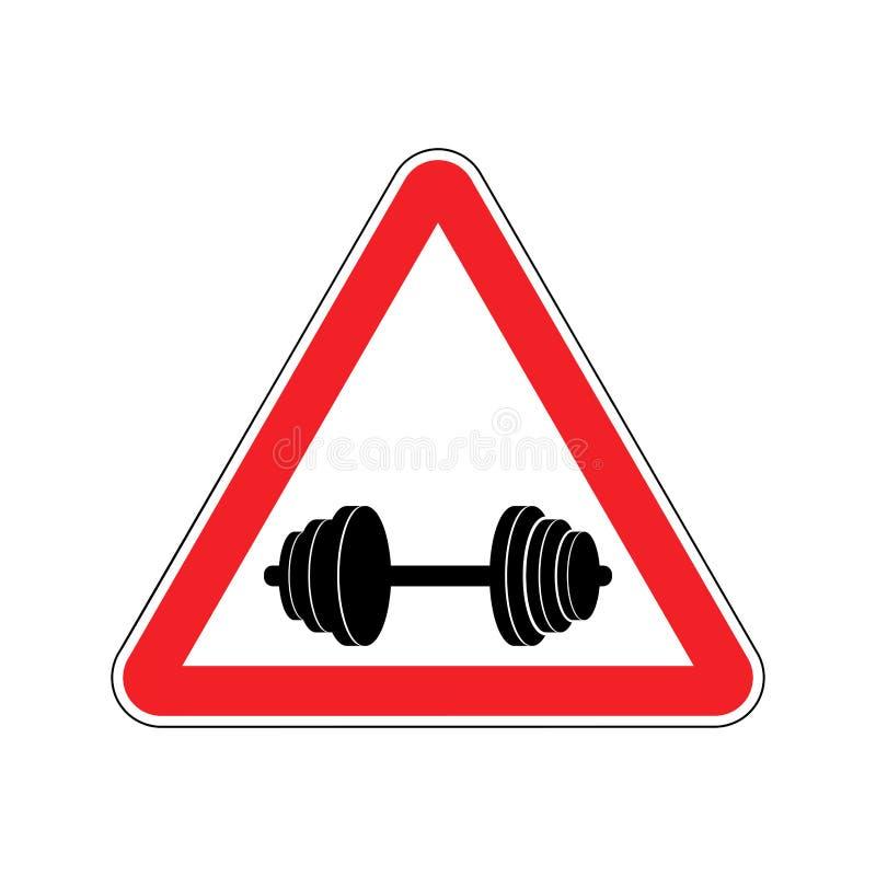 Спорт внимания Предупреждение знака гантели опасности Дорога si опасности иллюстрация штока