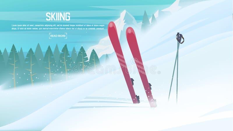 Спорт зимы - горные лыжи Наклон лыжи спортсмена вниз от горы иллюстрация штока