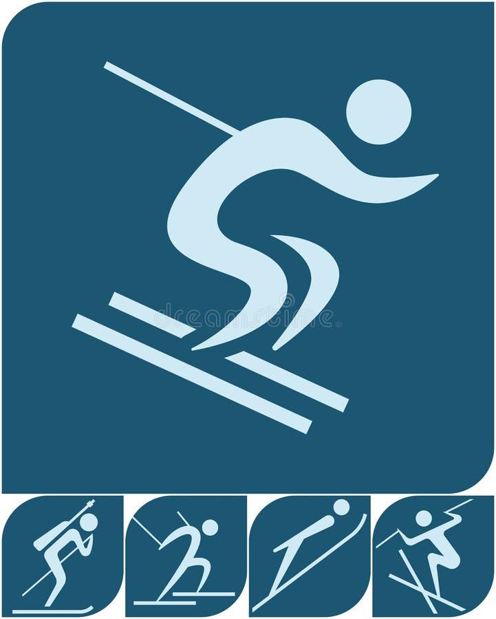 Спорт зимы - установленные значки зимы иллюстрация вектора