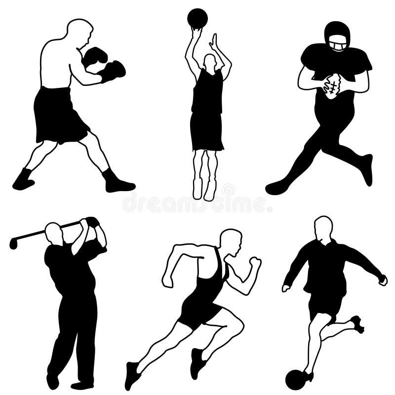 спорт иконы установленный иллюстрация вектора