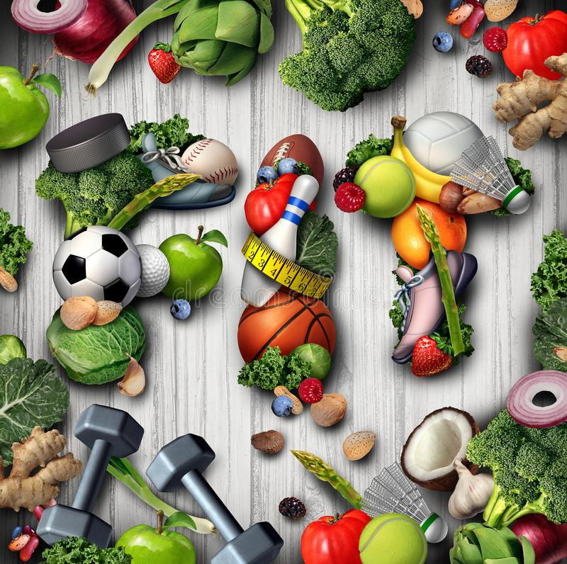 Спорт и питание фитнеса образа жизни иллюстрация штока