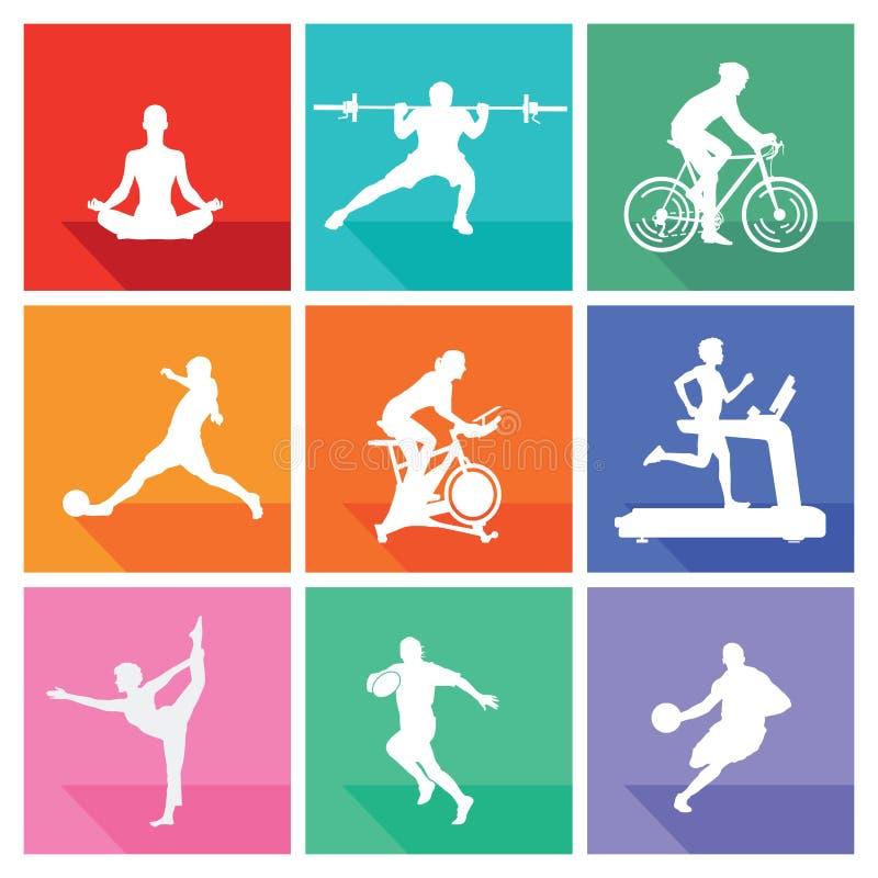 Спорт и фитнес иллюстрация штока