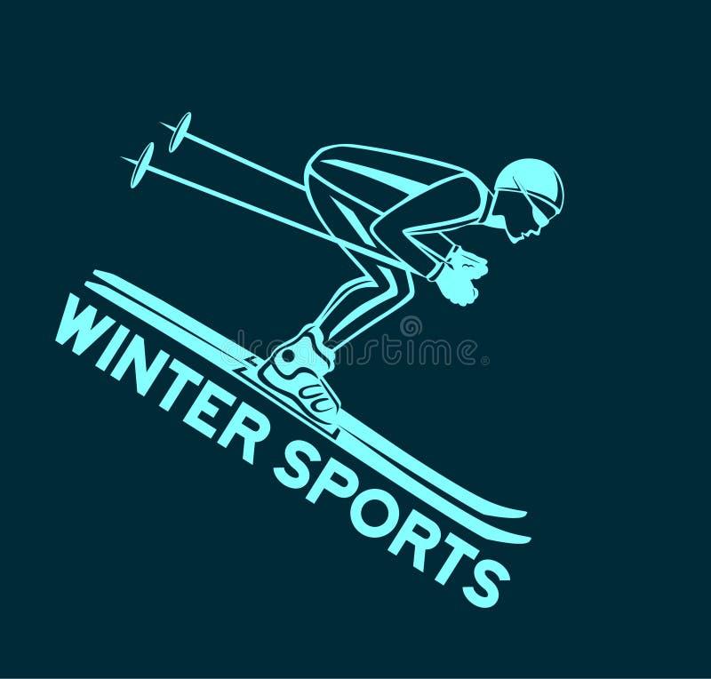 Спорт катания на лыжах зимы иллюстрация штока