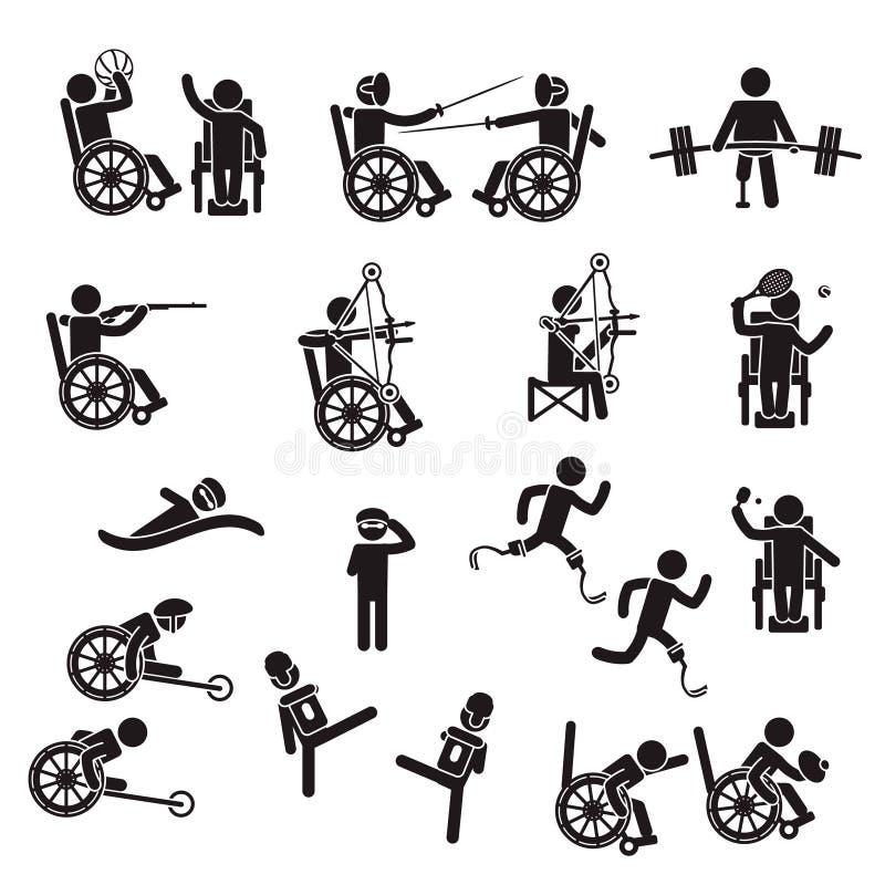 Спорт люди с ограниченными возможностями набора значка r иллюстрация вектора