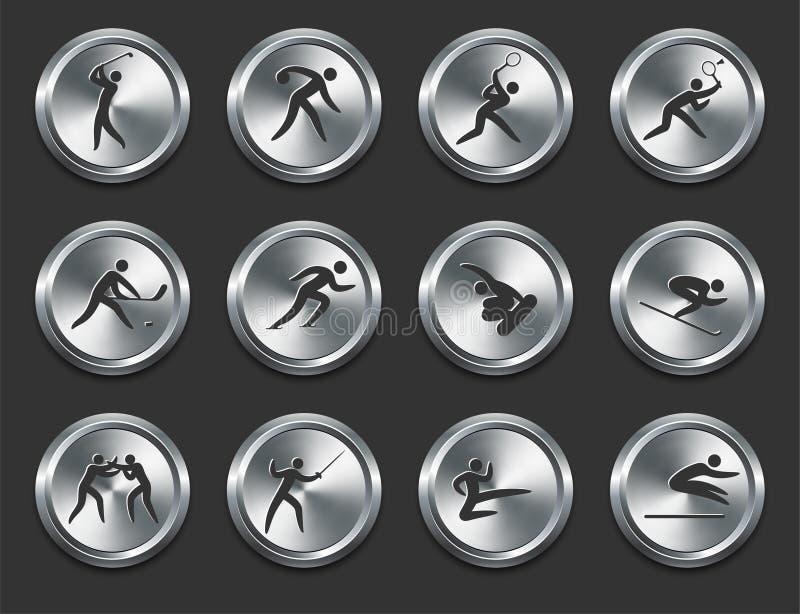 спорт металла интернета икон кнопок спортсменов иллюстрация вектора
