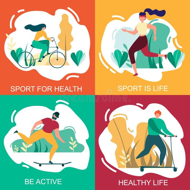 Спорт на жизнь здоровья здоровая активный набор знамени иллюстрация штока