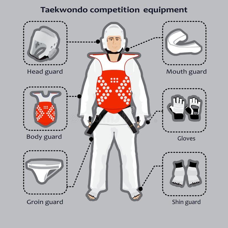 Спорт оборудования конкуренции боевых искусств Тхэквондо корейский иллюстрация вектора