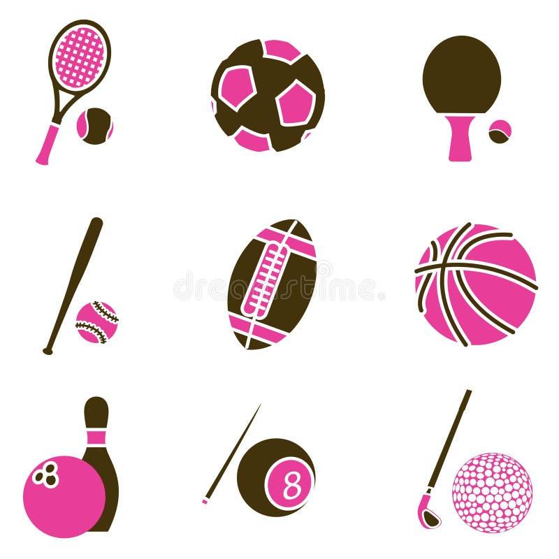 спорт предмета иконы установленный иллюстрация вектора