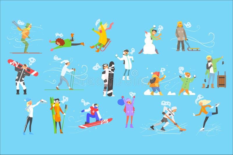 Спорт приниманнсяые за людьми зимы, взрослый и дети на иллюстрации вектора зимних отдыхов иллюстрация штока
