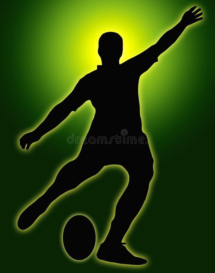 спорт силуэта рэгби брыкуньи зарева зеленый иллюстрация штока