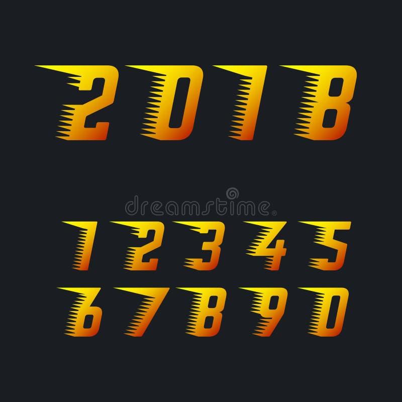Спорт участвуя в гонке номера с быстрым влиянием движения линий скорости установили символов вектора Счастливые символ Нового Год иллюстрация штока