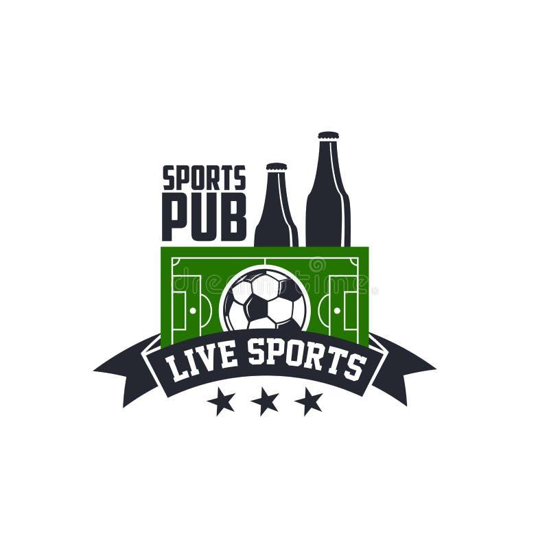 Спорт футбола или значок в реальном маштабе времени вектора паба бара футбола иллюстрация вектора