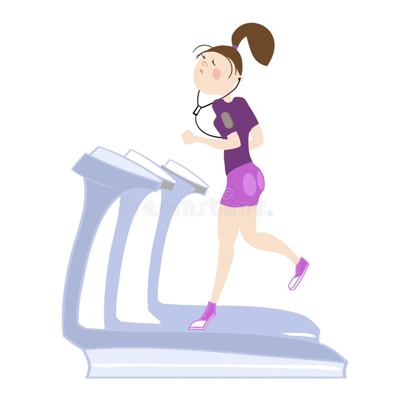 Sport exercises. The girl, exercising in the gym, cardio exercises, running on a treadmill, color  illustration, for sports complex advertising vector illustration