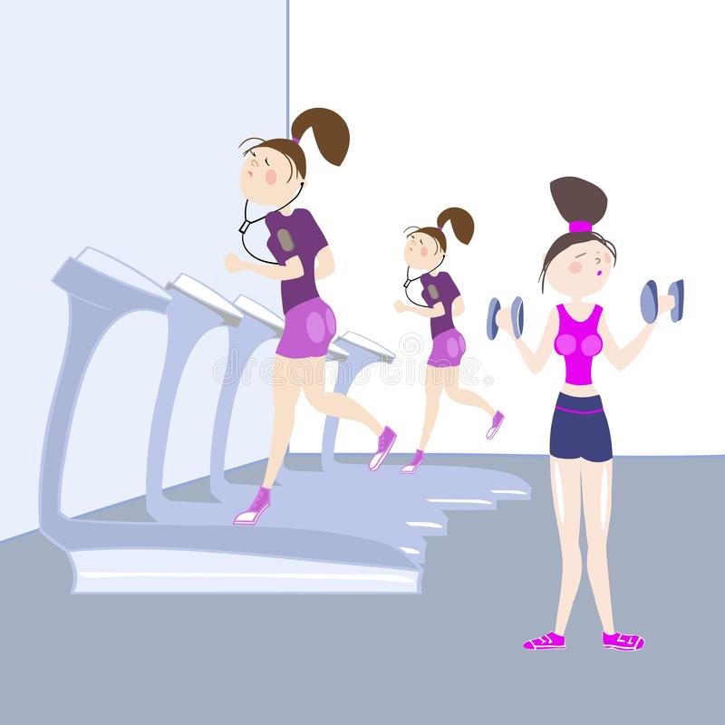 Sport exercises. Girls exercising in the gym, cardiovascular exercise, running on a treadmill, color  illustration for sports complex advertising stock illustration