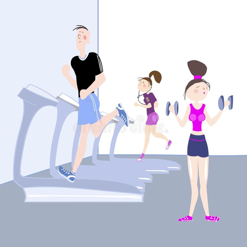 Sport exercises. The picture shows young people, a boy and a girl, exercising in the gym, cardio exercises, running on a treadmill and girl doing dumbbell stock illustration
