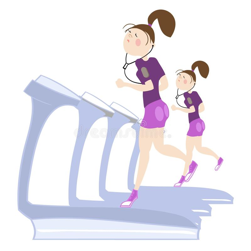 Sport exercises. The girl, exercising in the gym, cardio exercises, running on a treadmill, color  illustration, for sports complex advertising royalty free illustration