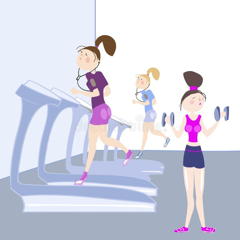 Sport exercises. Girls exercising in the gym, cardio exercises, running on a treadmill, exercises with dumbbells, color illustration in  for advertising of the stock illustration