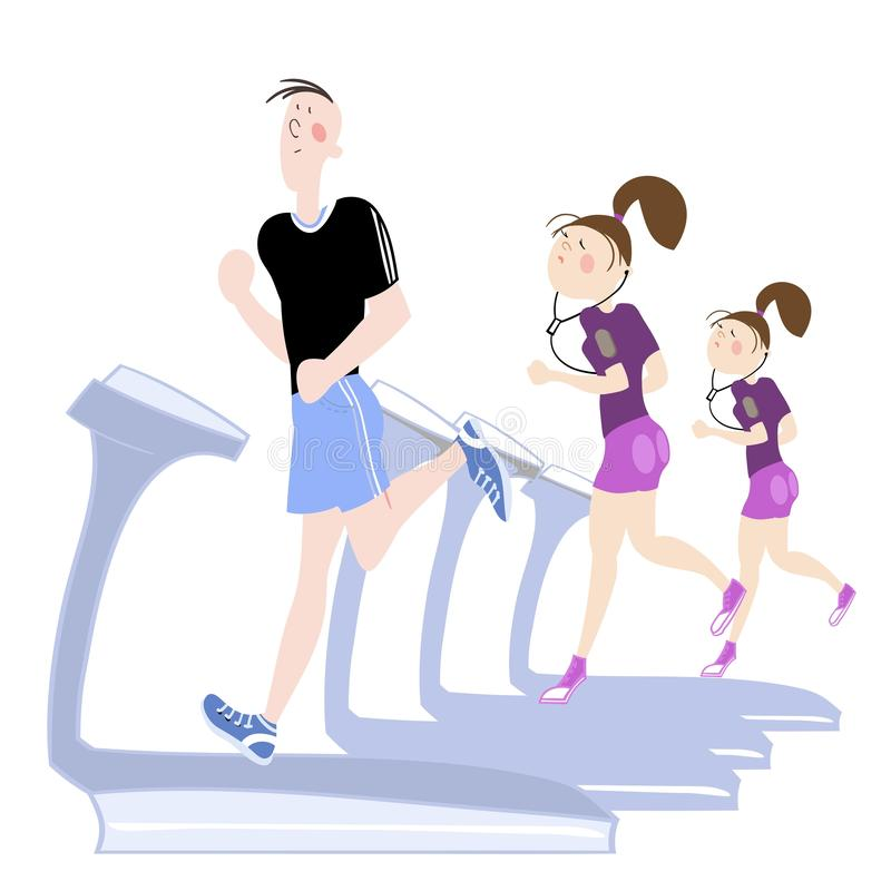 Sport exercises. The picture shows young people, a boy and a girl, exercising in the gym, cardio exercises, running on a treadmill, color  illustration for vector illustration