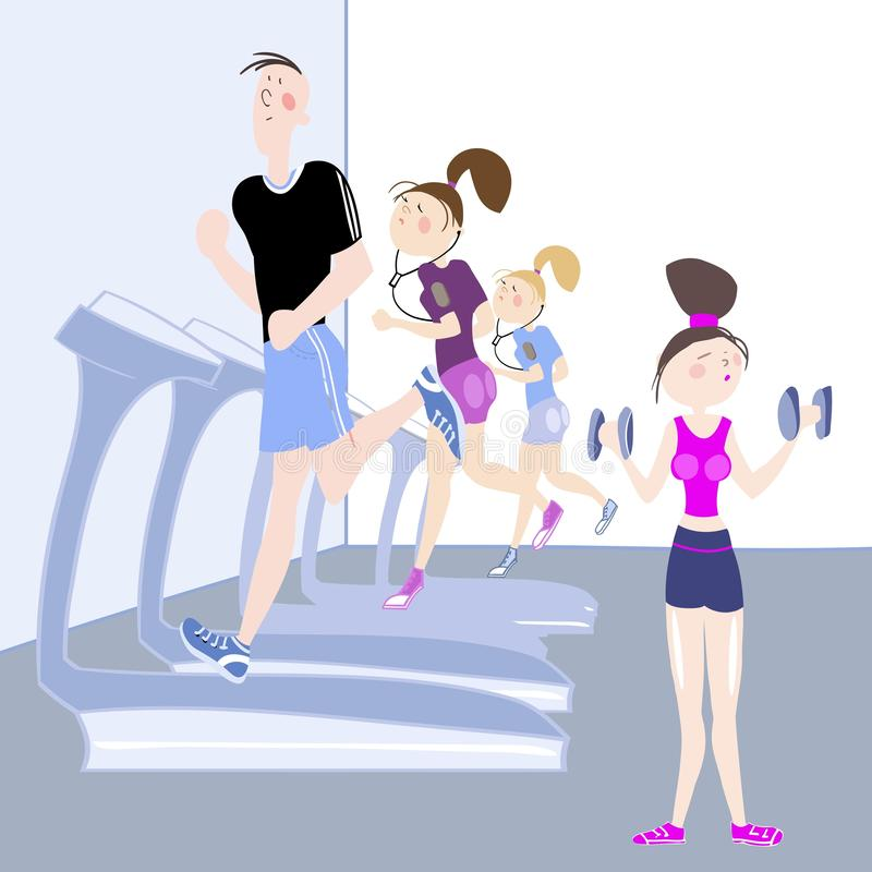 Sport exercises. The picture shows young people, a boy and a girl, exercising in the gym, cardio exercises, running on a treadmill and girl doing dumbbell royalty free illustration