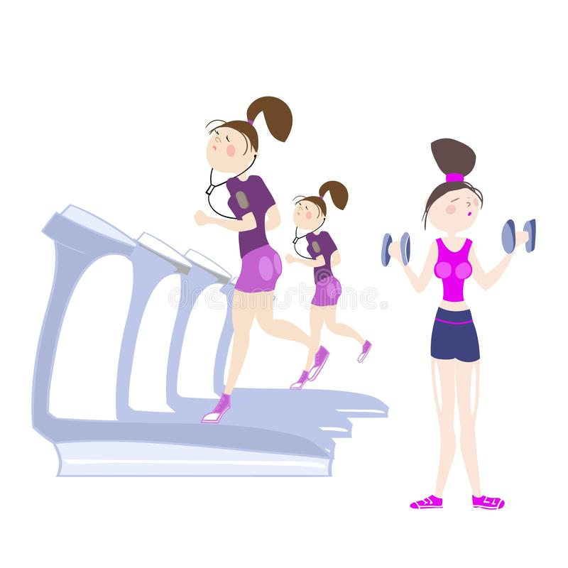 Sport exercises. Girls exercising in the gym, cardio exercises, running on a treadmill, exercises with dumbbells, color illustration in  for advertising of the royalty free illustration