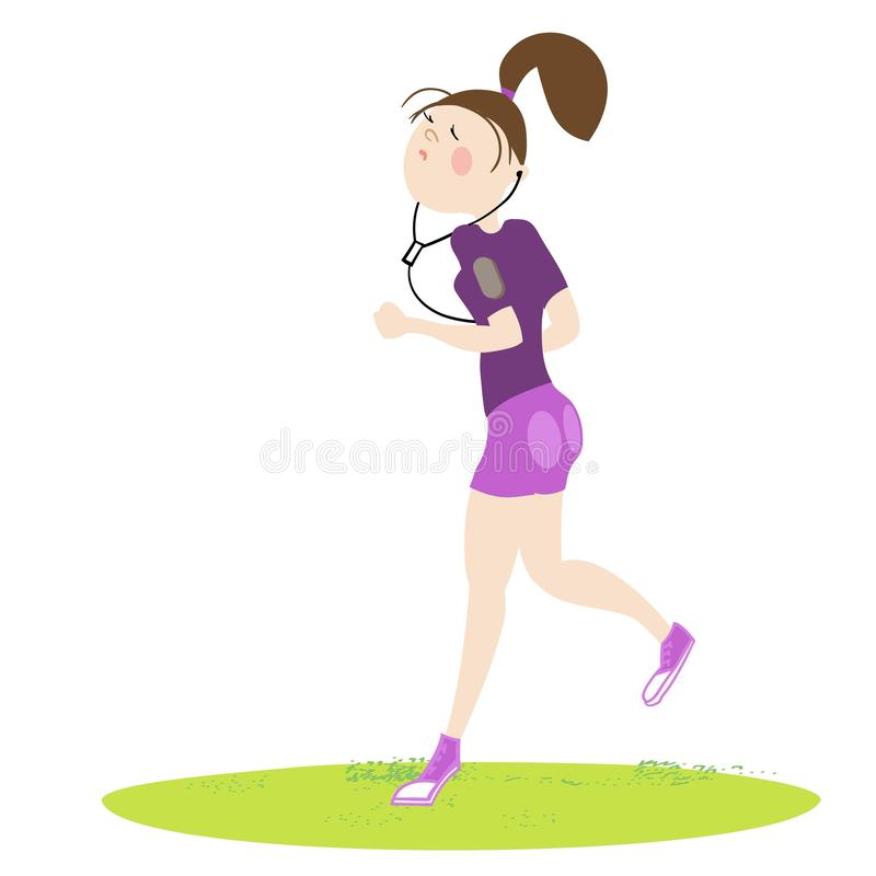 Sport exercises. Girl exercising in the fresh air, cardio exercises, running, color, cartoon illustration in , for sports complex advertising stock illustration