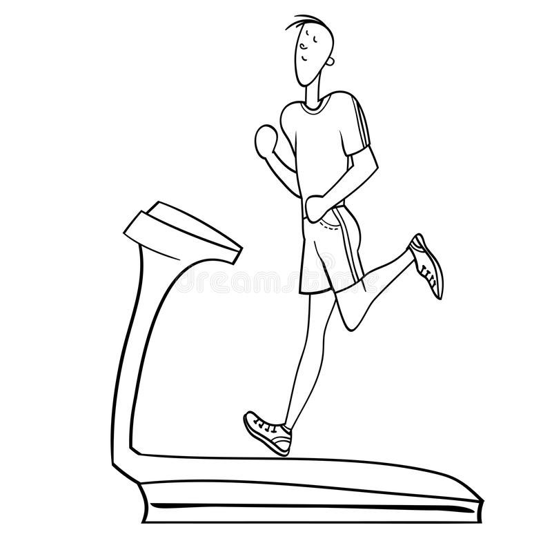 Sport exercises. Young man, exercising in the gym, cardiovascular exercise, running on a treadmill, black and white illustration in , for advertising of the stock illustration