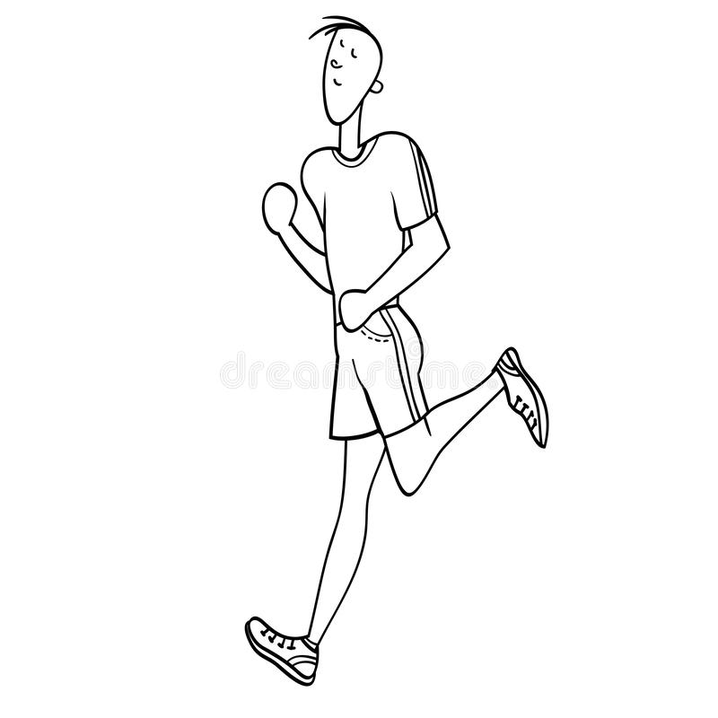 Sport exercises. Young man, exercising in the gym, cardiovascular exercise, running on a treadmill, black and white illustration in , for advertising of the royalty free illustration