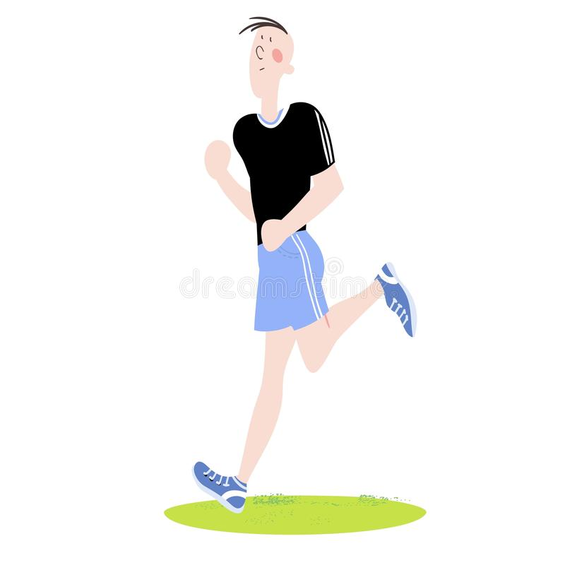 Sport exercises. Young man exercising in fresh air, cardiovascular exercises, running on a treadmill, color  illustration for sports complex advertising royalty free illustration