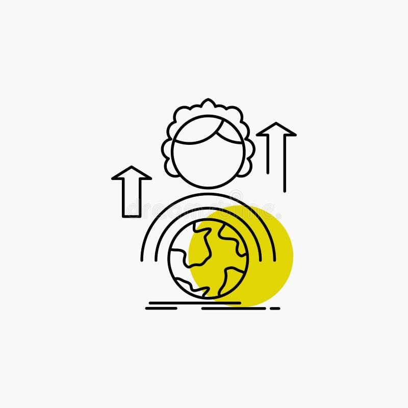 способности, развитие, женская, глобальная, онлайн линия значок иллюстрация вектора