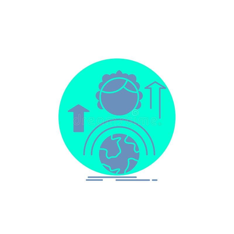 способности, развитие, женский, глобальный, онлайн значок глифа иллюстрация штока