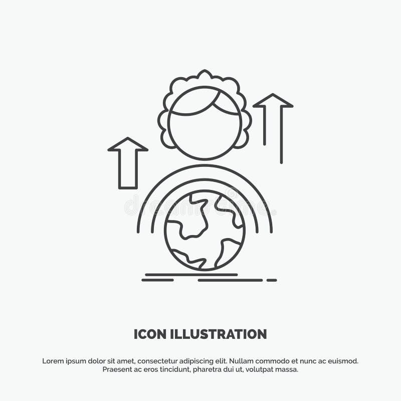 способности, развитие, женский, глобальный, онлайн значок r иллюстрация вектора