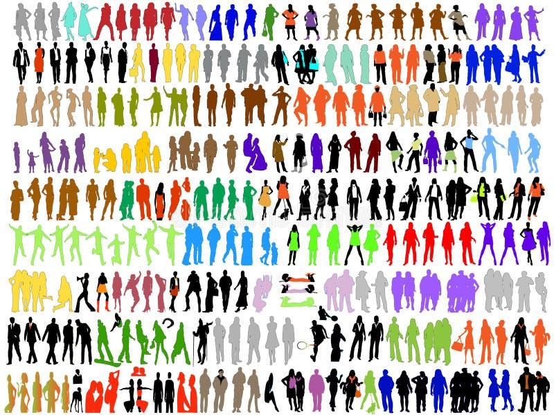 способ дела цветастый silhouettes разнообразие иллюстрация штока