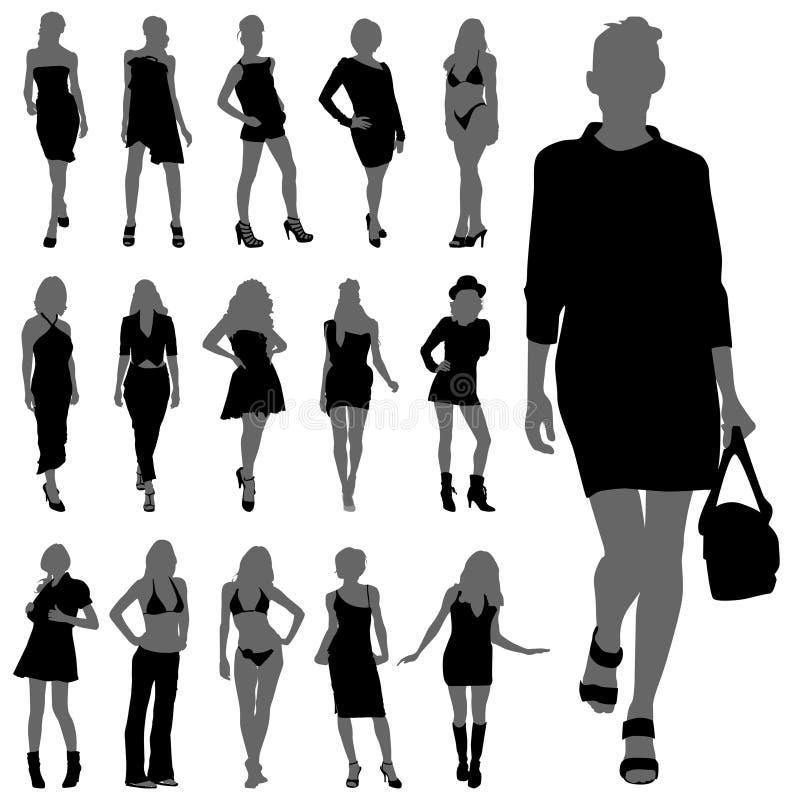 способ silhouettes женщина иллюстрация штока