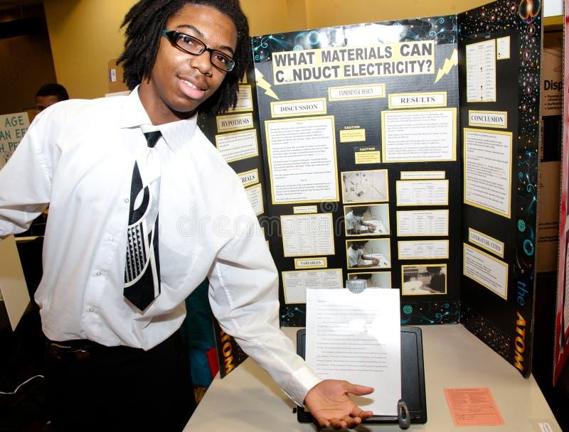 справедливый студент науки плаката стоковое изображение rf