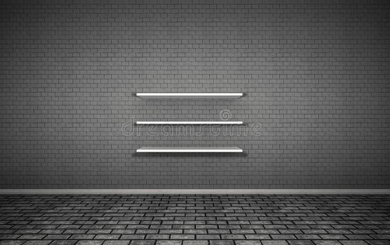 Справочные материалы представляют, кирпичная стена, 3Shelf стоковая фотография