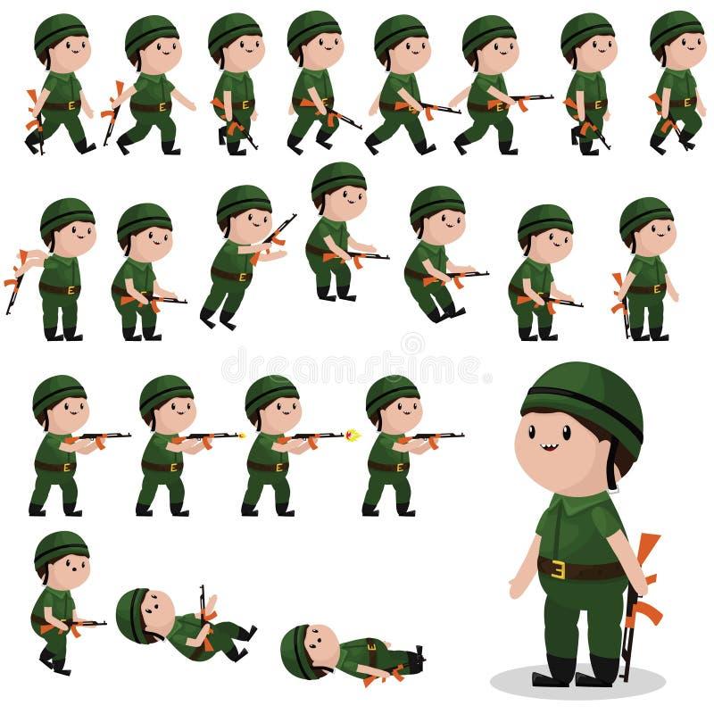 Спрайты характера солдата для игр, анимаций иллюстрация штока
