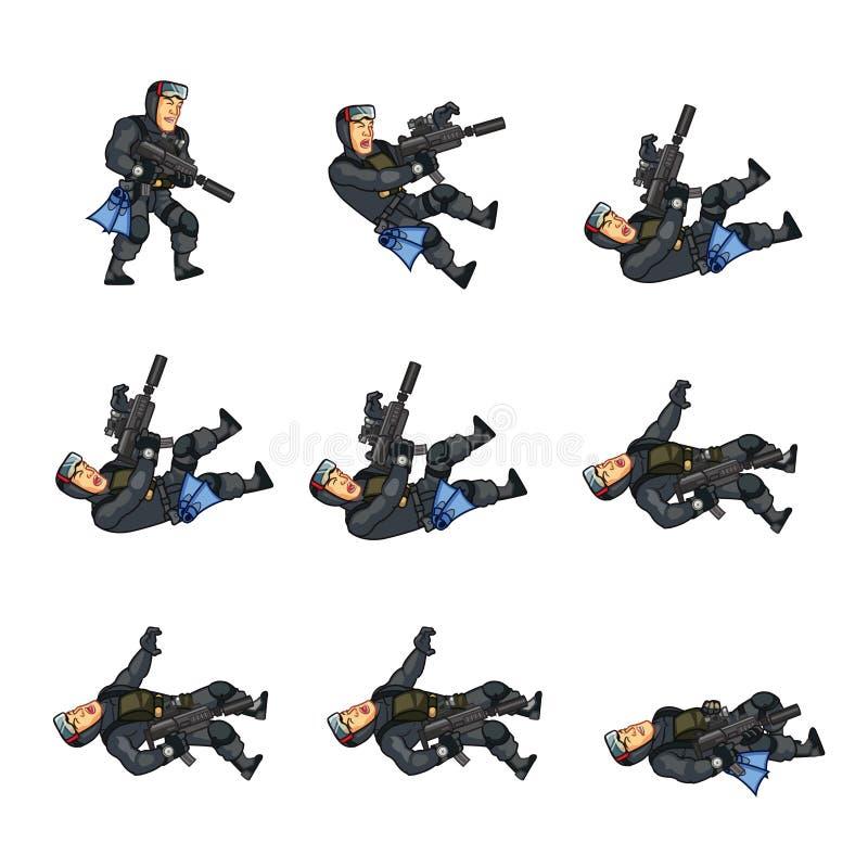 Спрайт анимации игры уплотнения военно-морского флота иллюстрация вектора