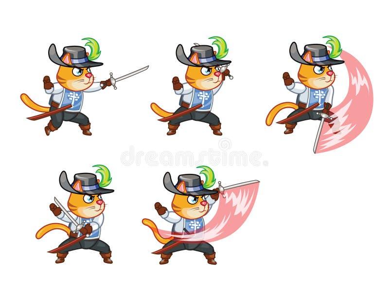 Спрайт игры кота Muskeeter иллюстрация вектора